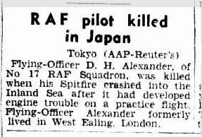 RAF pilot killed in Japan 26 9 1947 Melbourne Argus australia