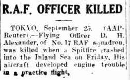 RAF pilot killed in Japan 26 9 1947 Rockhampton Morning Bulletin australia