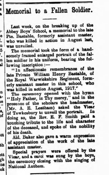 Tewkesbury register WH bastable dec 29 1917