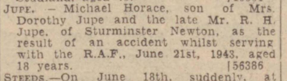 w gazz m h jupe death notice july 2 1943