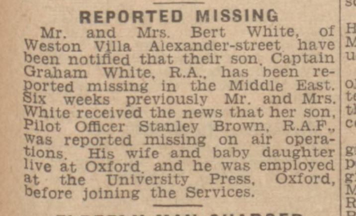 w gazz s brown reported missing july 17 1942