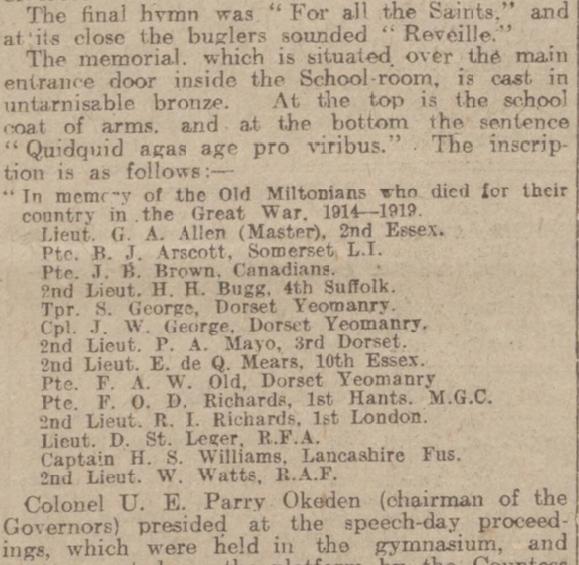 western gazette 23 Dec 1921 Milton Abbas Grammar School