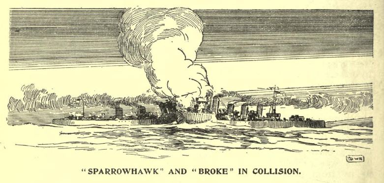 Sparrowhawk and Broke in collision